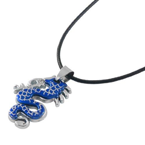Rosallini Blue Alloy Dragon Shaped Pendant Black Strap Necklace