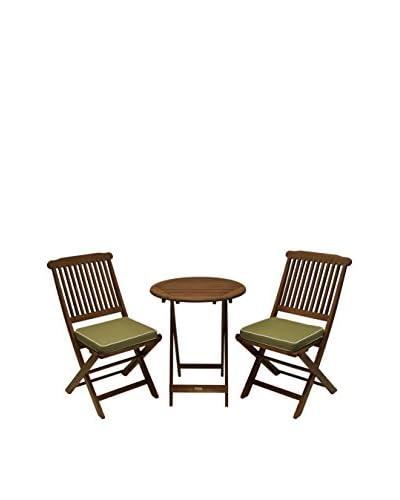 Outdoor Interiors Eucalyptus 3-Piece Bistro Set, Brown/Sage