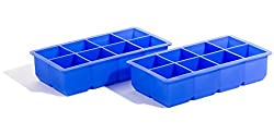 Select Culinary Silicone Ice Cube Tray - Large Slow Melting Ice Cubes - Set of 2 Trays (Blue) - SC-SICTB