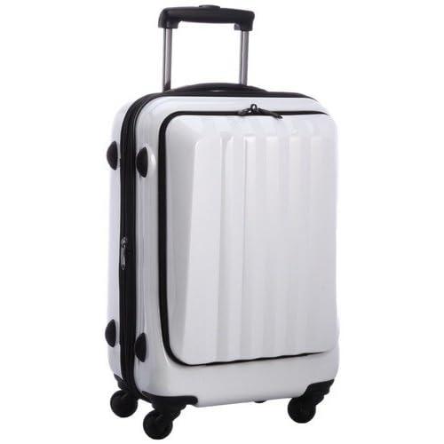 容量アップ拡張ジッパー付フロントオープンスーツケース ホワイト