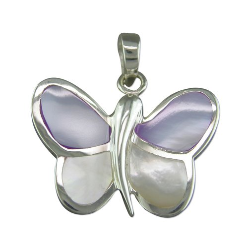 Sterling Silver Mother Of Pearl Butterfly Pendant On A 18 Inch Snake Necklace