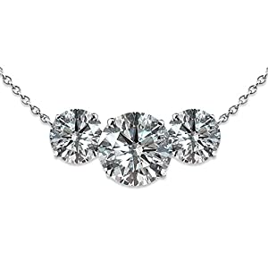 1.75 Carat G-H I1 Round 3 Stone Diamond Solitaire Pendant Necklace With Chain 14K White Gold