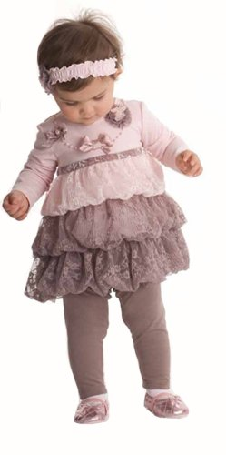 Today Sale Kate Mack Infant Girls Mocha Pink Lace Legging Set-12 Months  Review