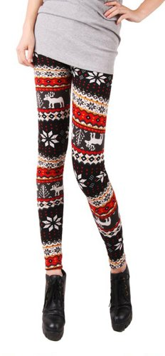Hot Christmas New knit wool like thermal leggings colorful Seasonal patterns