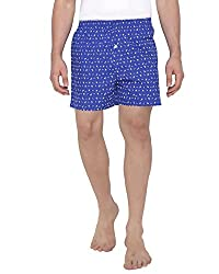 The Cotton Company Men's Soft Cotton Boxer Shorts with Nautical Print - Electric Blue (S)