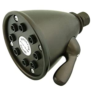 3-5/8 8 JET SPRAY SOLID BRASS SHOWER HEAD, ORB, WHITE-Oil Rubbed Bronze Finish