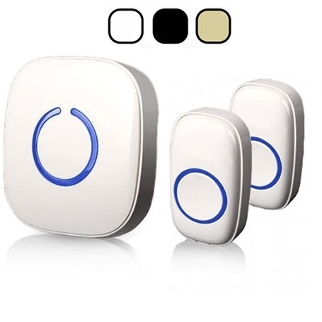 SadoTech Model CX Wireless Doorbell with 1 Receiver Plugin and 2 Remote Buttons Operating at over 500-feet Range with Over 50 Chimes, No Batteries Required for Receiver, (White), Fixed Code C Series