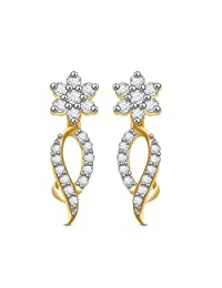 Ciemme 3.63 Ct CZ Stone Studded 18 KT Gold Plated Earrings 925 Sterling Silver