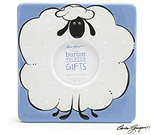 Puffy Sheep Design Baby Blue Square Shaped Hand Painted Ceramic Picture Frame
