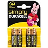 IChoose® AA Batteries / Battery Pack of 4 Duracell Simply LR6/MN1500 for Radios, Remotes, Clocks Etc