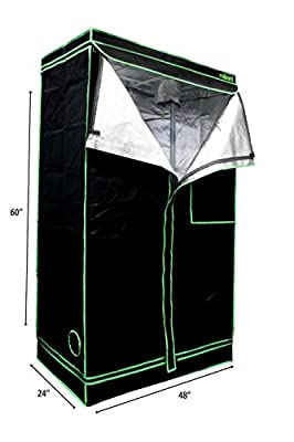 "MILLIARD 48"" x 24"" x 60"" 100% Reflective Mylar Hydroponic Grow Tent with Window, Great for Indoor Planting and Early Seedling Starters"