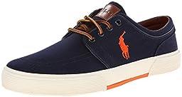 Polo Ralph Lauren Men\'s Faxon Low Sneaker, Navy, 9.5 D US
