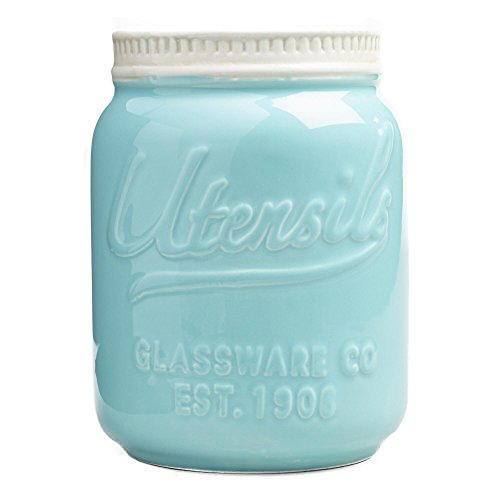 Mason Jar Ceramic Utensil Crock (Aqua/Blue) by World Market (Blue Mason Jars For Sale compare prices)