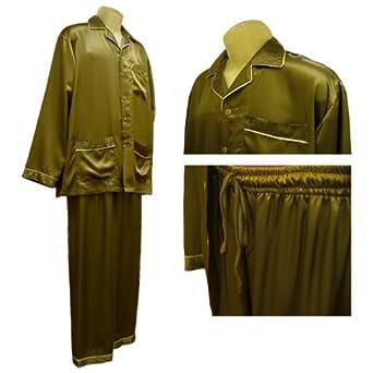 Men's Pajamas: Sirisha Classic Satin Silk, G2, Bronze (Small)