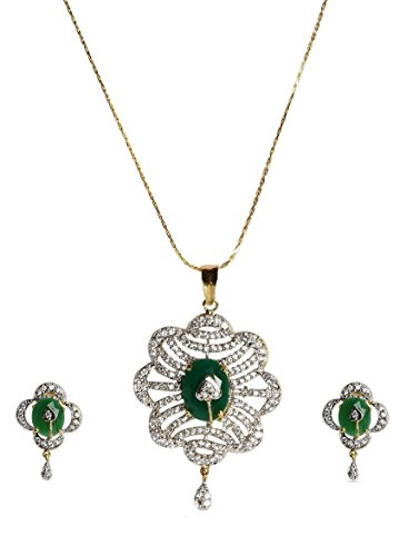 sempre-london-18k-gold-two-tone-plated-green-beauty-pendant-with-designer-earrings-in-cz-crystal-dia