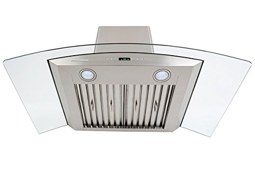 XtremeAir PX01-I30 Island Mount Range Hood with 900 CFM Baffle Filters/Grease Drain Tunnel, 30