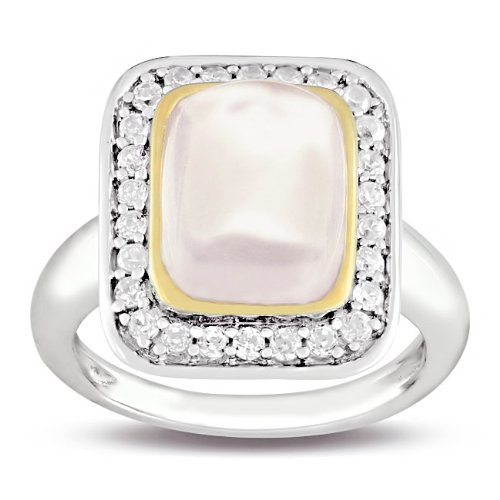 Sterling Silver 4 1/3 CT TGW Pink Quartz and White Cubic Zirconia Fashion Ring