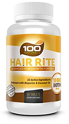 Hair Rite: Hair Growth Vitamins Supplements - 10000 Mcg of Biotin, 33 Ingredients, Enhanced with Black Pepper and Coconut Oil, Intensive Hair Loss Prevention for Women and Men.