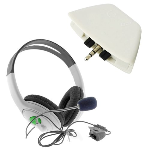 Gtmax Big Headset With Mic + Headset Converter Adapter For Microsoft Xbox 360