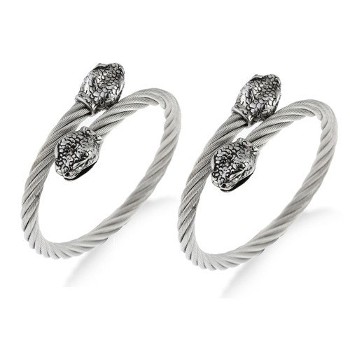 Mens Solid Twisted Roped Effect Bangle Bracelet in Stainless Steel, Antique Finish, Fit Any Size, Expandable. Stunning Designer style with Snake Heads meet at Center. Masculine Jewellery Style of Distinction, Was: £39.99,Now: £29.99