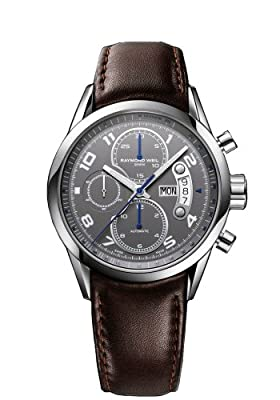 Raymond Weil Freelancer Grey Dial Brown Leather Chronograph Mens Watch 7730-STC-05600