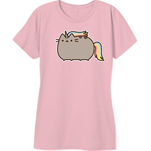 Pusheen The Cat Rainbow Unicorn Juniors Tee-Pink (Medium)