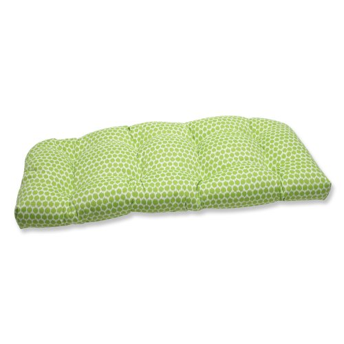 Pillow Perfect Outdoor Seeing Spots Julep Wicker Loveseat Cushion, Mint photo