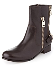 Autograph Premium Leather Double Zip Biker Boots with leather lining and Insolia Flex®