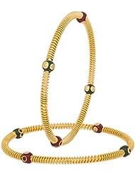INDIAN FESTIVAL DESIGN MULTI COLOR KUNDAN/BEADS MEENAKARI GOLD PLATED BANGLES ET FOR WOMEN SIZE 2.4 - B01KQH5PCY
