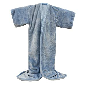 あったか ニューマイヤー かいまき 着る毛布 (かい巻き毛布) 無地ブルー