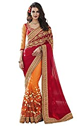 Suchi Fashion Embroidered Pure Georgette & Net Orange and Red Saree