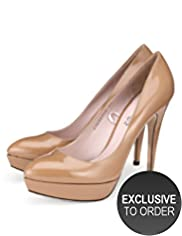 Autograph Leather Patent Platform Court Shoes