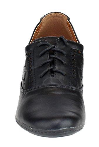 Refresh Women's London-01 Cutout Dressy Heeled Lace Up Oxford Shoe (9 B(M) US, Black)