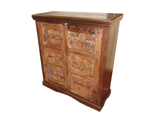 Rustic Doors Cabinet Sideboard Console Antique Chest Carved Indian Furniture