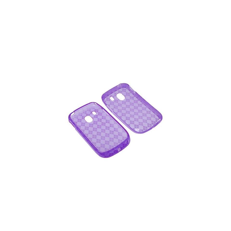 BW TPU Sleeve Gel Cover Skin Case for Tracfone LG 500G  Purple Checker