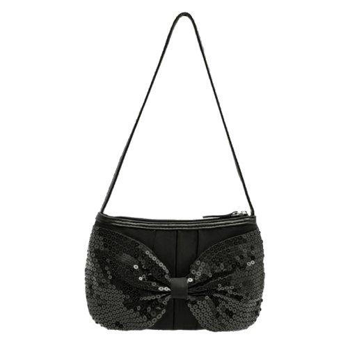 george-sequin-bow-satin-evening-party-girls-womens-shoulder-clutch-handbag-black