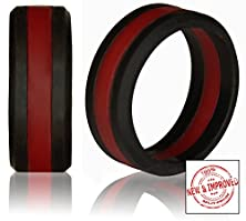 buy Silicone Wedding Band By Knot Theory (Black / Red Line, Size 11.5-12) ★6Mm Band For Superior Comfort, Style, And Safetyâ
