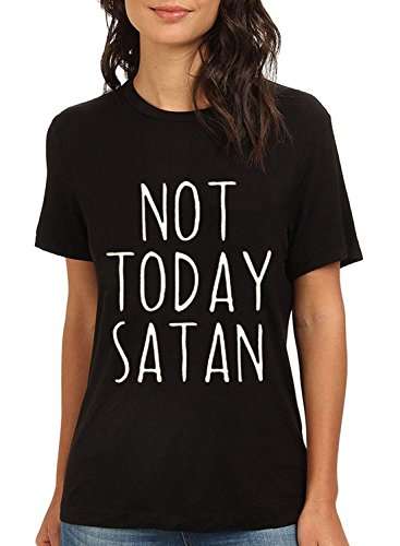 ZXZY-Women-Cotton-Short-Sleeves-Not-Today-Satan-Letter-Print-T-Shirt-Blouse-Top