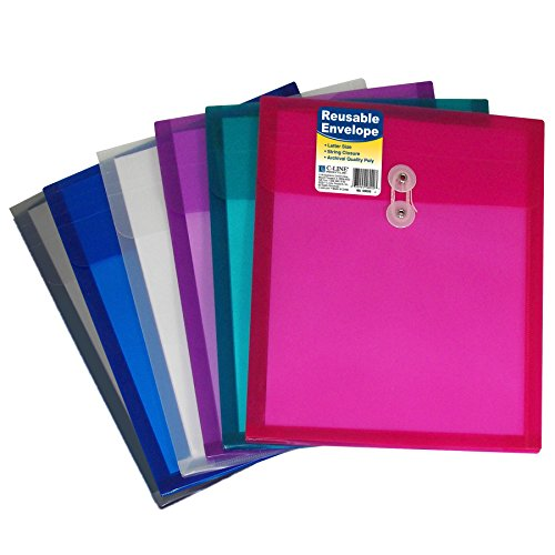 C-Line Reusable Poly Envelope with String Closure, 1-Inch Gusset, Top Load, Letter Size, Pack of 24 Envelopes, Assorted Colors (58020) (Poly Envelope Top Load compare prices)