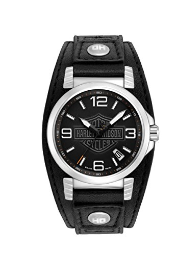 Harley Davidson Men's Quartz Watch with Black Dial Analogue Display and Black Leather Strap 76B163