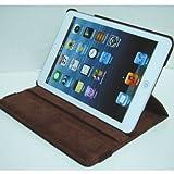 iPad mini ケース/アイパッド ミニ/スタンドC型/合皮製/牛皮模様/モニター回転式/ブラウン/茶色