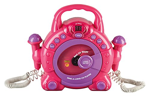40105 - Kinder CD Player SING A LONG mit 2 Mikrophonen und LED Display, pink
