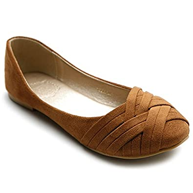 Ollio Women's Ballet Shoe Cute Casual Comfort Flat (6, Brown)