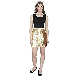 Emmylyn Golden Sequined Skirt For Women