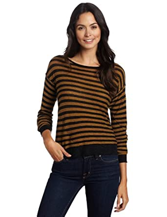 Margaret O'Leary Women's Stripe Pullover Sweater, Mustard Stripe,X-Small