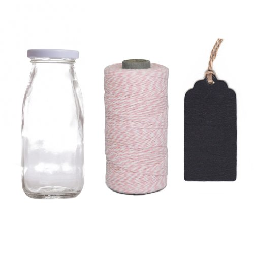 Dress My Cupcake 12-Pack Favor Kit, Includes Vintage Glass Milk Bottles And Twine/Chalkboard Gift Tag, Baby Pink front-506298
