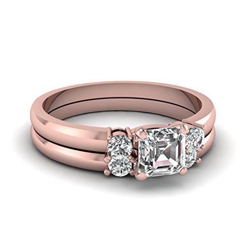 Fascinating Diamonds 0.80 Ct Asscher Cut Diamond Trinity Wedding Rings Set With Round Sidestones 14K Gia