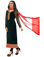 Exotic India Jet-Black Long Choodidaar Kameez Suit With Zari-Embroidered - Black