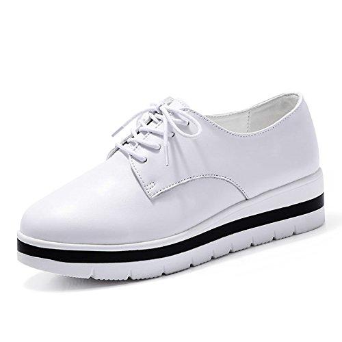 Scarpe da donna/ primavera e autunnale scarpe/Spessa piattaforma scarpe donna/Scarpe fondo piatto bianco in pelle/Scarpe stringate/Tacchi-A Lunghezza piede=22.8CM(9Inch)