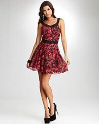 Barbed Garden Chiffon Dress - bebeBLACK